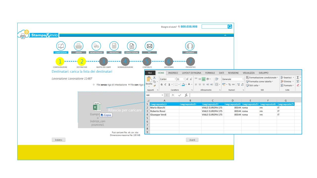 bc0c3616f2 Entrate nel portale, caricate il file excel con i dati dei destinatari: